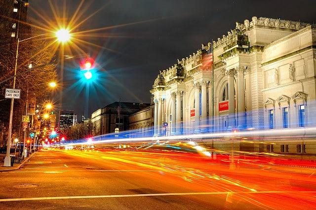The Metropolitan Museum of Art at night, NYC