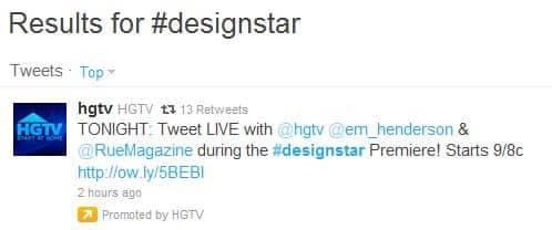 Screenshot of HGTV Promoted Tweet for Design Star on Twitter.com 7-11-2011