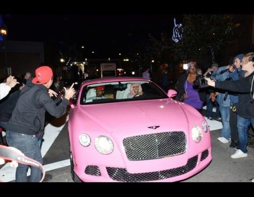 Nicki Minaj Driving Her Pink Bentley